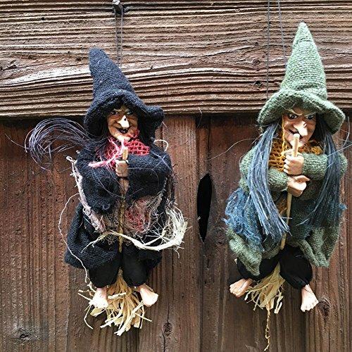 Zantec Halloween zeigt Hexe Spaziergang Kleine Hexe mit Magic Mop Party Supplies Dekoration Kleine Anhänger Haus Bar KTV (Kostüm Streich Krueger Freddy)