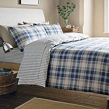 Catherine Lansfield - Juego de funda nórdica y funda de almohada de franela 100% algodón, diseño de rayas azules y blancas, mezcla de algodón, azul marino y blanco, Double Fitted Sheet