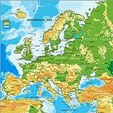 Posterlounge Leinwandbild 120 x 120 cm: Europakarte (Englisch) von Editors Choice - fertiges Wandbild, Bild auf Keilrahmen, Fertigbild auf Echter Leinwand, Leinwanddruck