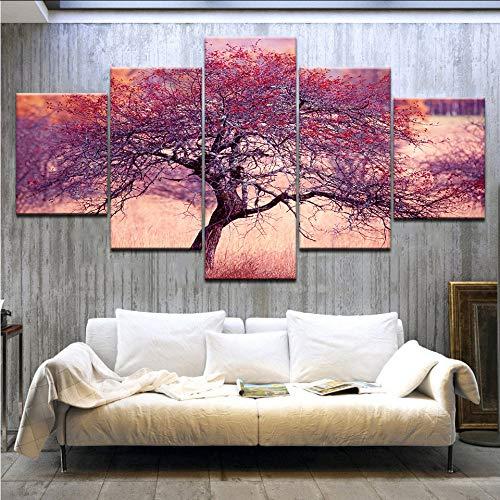 ljtao 5 Panel/Stücke Hd Druck Lila Glück Reichen Baum Glück Druck Auf Leinwand Kunst Malerei Für Zuhause Wohnzimmer Dekoration-30Cmx40/60/80Cm-Frame