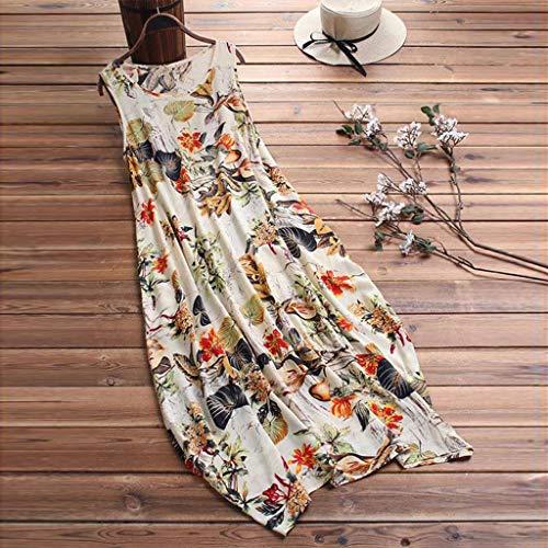 MERICAL 2019 Neues Kleid, Frauen Arbeiten ärmelloses Weinlese-Blumendruck-Taschen beiläufiges Schwingen-Midi-Kleid um(Gelb,XXX-Large)