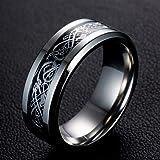 خاتم من تريجر لاند جيويلري من التيتانيوم بلونين بنمط تنين معقود تصلح كخواتم زفاف مريحة للرجال والنساء - قياس: 9