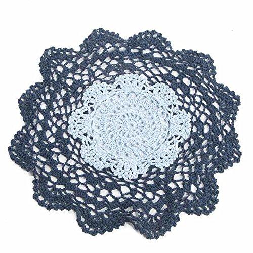 30,5cm Marineblau und rund hellblau Baumwolle Hand gehäkelt Spitze Deckchen, Set von 3
