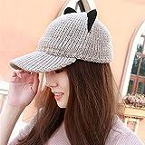 Orejas de gato hembra sombrero de lana tejida de otoño e invierno pato cap hat gran sombrero lindo Sombrero de invierno,Caqui -2 Mujeres, fiestas, regalos de cumpleaños