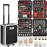 TecTake - Set de herramientas (616piezas), en maletín carrito portaherramientas de aluminio