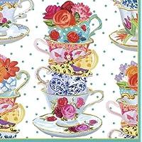 Caspari - Confezione da 20 tovaglioli di carta con motivo tazze di tè, colori misti