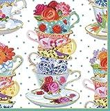 Caspari Tea Cups Paper Cocktail Napkins, Pack of 20