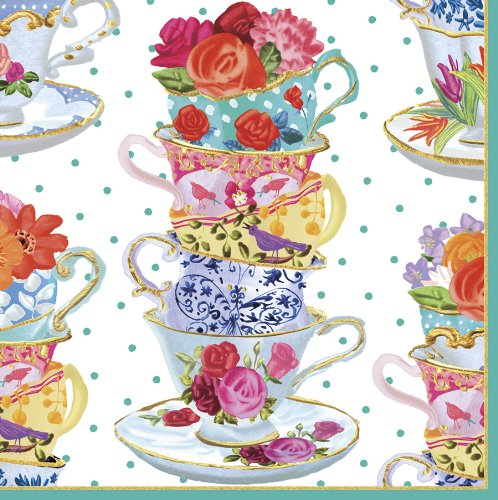 Caspari Cocktail-Servietten, Motiv Teetassen, Mehrfarbig Tea Cup