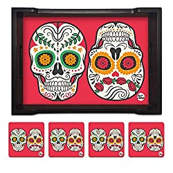 Nutcase Designer Wooden Serving Trays With A Set Of 4 Matching Metal Coasters for Kitchen Serving/Dining Set - Skull Red