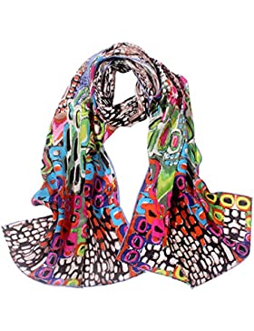 TONY & CANDICE Bufanda larga de la bufanda del Charmeuse de la seda 100% de las mujeres impresa chal largo de...