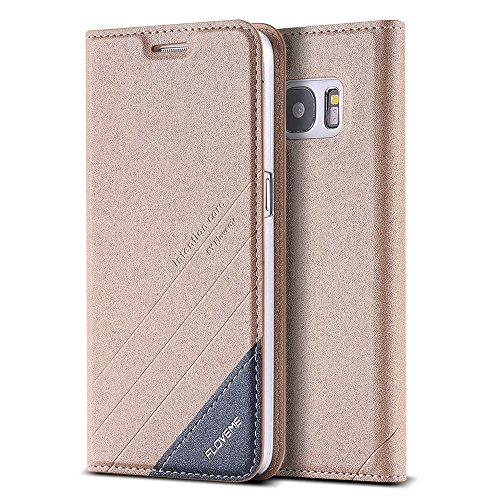 FLOVEME Cover per Samsung S7 Custodia Portafoglio a Libro Flip Magnetico Porta Carta Leggero Protettiva per Samsung S7 d'Oro