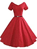 iLover Women 1950s V-Neck Vintage Rockabilly Swing Evening Party Dress
