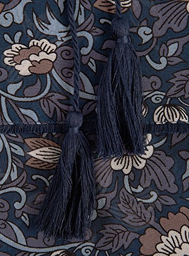 oodji Collection Femme Blouse Imprimée à Houppe et Élastique Bleu (7933F)