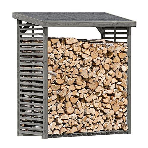Gartenpirat Kaminholzregal Regal für 2,3 m³ Brennholz aus Holz KDI Grau