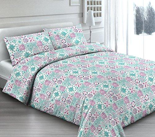Smartsupershop Housse de Couette avec taies d'oreiller pour lit - Douce Dormir Vert - Y Compris sous avec Coins en coordonné - en Coton Fabriqué en Italie