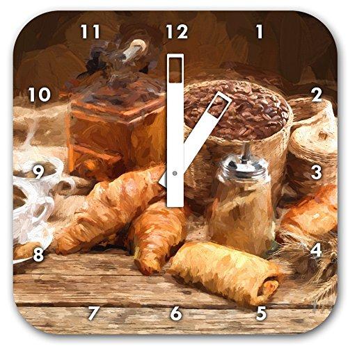 Stil.Zeit Aromatischer Kaffee mit Croissant Pinsel Effekt, Wanduhr Quadratisch Durchmesser 28cm mit weißen eckigen Zeigern und Ziffernblatt -