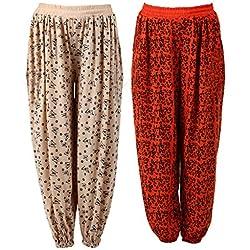 NumBrave Printed Viscose Orange & Beige Harem Pants (Pack of 2)