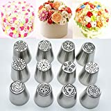 12 Pieces Russian Piping Tips Flower Cake Icing Piping Nozzles Cake & Cupcake Decorating Tips Kit Pastry DIY Baking Tools