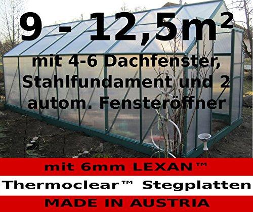9 – 12m² PROFI ALU Gewächshaus Glashaus Treibhaus inkl. Stahlfundament u. 4(6) Fenster, mit 6mm Hohlkammerstegplatten – (Platten MADE IN AUSTRIA/EU) inkl. 2 autom. Fensteröffner von AS-S