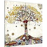 Bilder Gustav Klimt - Baum des Lebens Wandbild 80 x 80 cm Vlies - Leinwand Bild XXL Format Wandbilder Wohnzimmer Wohnung Deko Kunstdrucke Gelb 4 Teilig - MADE IN GERMANY - Fertig zum Aufhängen 004643a