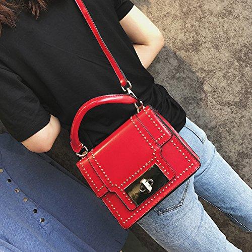 art und Weise Niet kleine quadratische tasche Weibliche Schulter kuriertasche handtasche Rot
