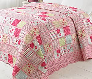patchwork tagesdecke berwurf f r doppelbett rosa 240x 260. Black Bedroom Furniture Sets. Home Design Ideas
