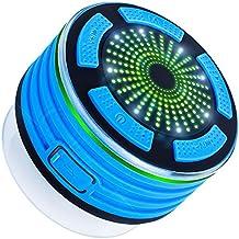 Altavoz Bluetooth ducha con radio FM, altavoz V4.0 Dland impermeable sin hilos de Bluetooth portátil con reproductor de MP3, altavoz y múltiples funciones de luz LED de