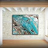 XIAOXINYUAN Abstrakte Kunst Blaue Küste Landschaft Poster Kunstdrucke auf Leinwand Acryl Wand Bild Für Wohnzimmer Moderne 30 X 40 cm Ohne Rahmen