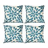 Top Finel 4er Set Baumwolle Leinen Drucken Kissen Kissenbezüge Dekorative Kissenhülle Für Sofa,45 x 45cm,Blau