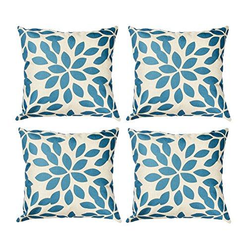 Top finel federe cuscini foglie in cotone morbidi quadrati decorativi in divano letto sedia un serie include 4 pezzi 18 x 18 inch blu
