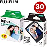 feiledi Trade Papier Photo Polaroid Fujifilm- Papier Photo Fujifilm Instax Square Film, Bord Noir/Noir pour Appareil Photo Instax SQ10 SQ6 SQ20 Instant Share