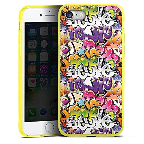 Apple iPhone 7 Silikon Hülle Case Schutzhülle Graffiti Style Schrift Silikon Colour Case gelb