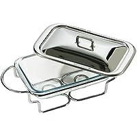 Premier Housewares Chauffe-plat rectangulaire avec plat en verre Marinex Inox 1,6 L