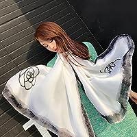 SunJin La versión coreana de la nueva primavera y verano hembra de seda fina chiffon Bufanda Bufanda Bufanda bloqueador solar interior doble, multifunción de inyección de tinta blanca (grande)