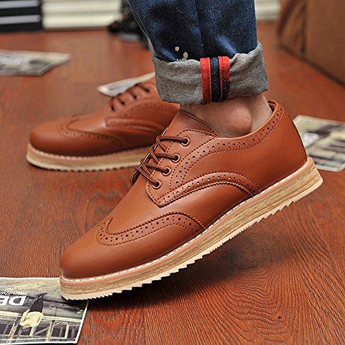 XiaoYouYu Classique Oxford élégantes Brogue Lacets Chaussures de ville Homme Marron