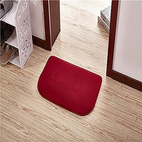 New day-Stuoia di bagno camera da letto Asciugapassi non - scivolare mat semi - lavare a mano lavabile macchina circolare , wine red , 80*160