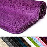 casa pura Badematte   Kuscheliger Hochflor   Rutschfester Badvorleger   Viele Größen   Zum Set Kombinierbar   Öko-Tex 100 Zertifiziert   60x50 cm   Purple Violet (Lila)
