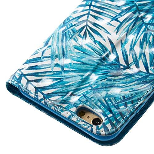 Per iphone 6 /iphone 6S Cover Libro Portafoglio ,OYIME Custodia in Pelle Disegno 3D Glitter Lusso Elegante Originale Antiurto Antiscivolo Antigraffio con Cordino Porta Carta Credito e Chiusura Magneti Foglie di Palma