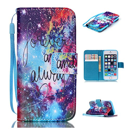 Nutbro iPhone 5C Case, iPhone 5C Wallet Case, 5C Case, [Lanyard] [Stand Feature] with Built-in Credit Card Slots Wallet Case for iPhone 5C 9