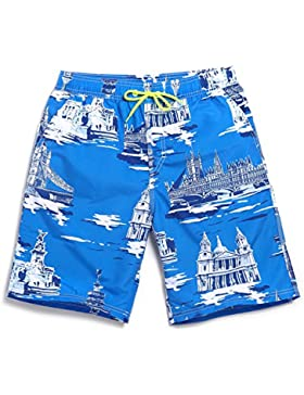 HAIYOUVK Summer Beach Shorts Male Quick Dry Large Size Loose Impression Print Elastic Band Casual Shorts Beach...