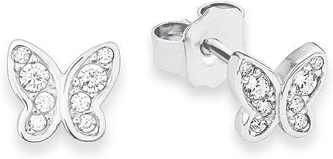 S.Oliver Kinder Ohrstecker Teenager Mädchen Schmetterlinge 925 Sterling Silber rhodiniert Zirkonia 6 mm weiß