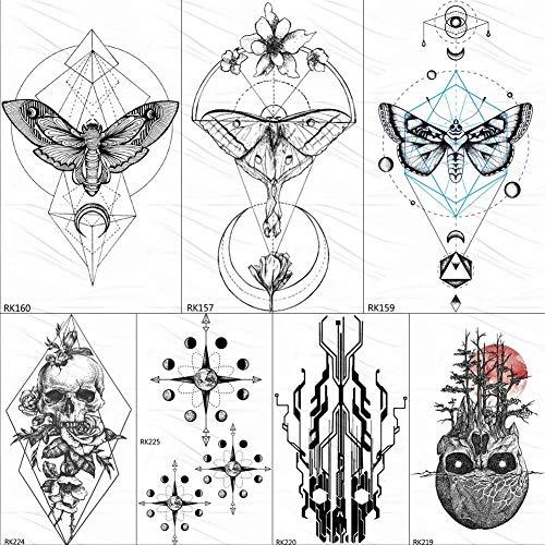 Kamrl tattoo adesivi geometry butterfly moth tatuaggi neri autoadesivo temporaneo teschio totem tatuaggio finto per tatuaggi artistici personalizzati