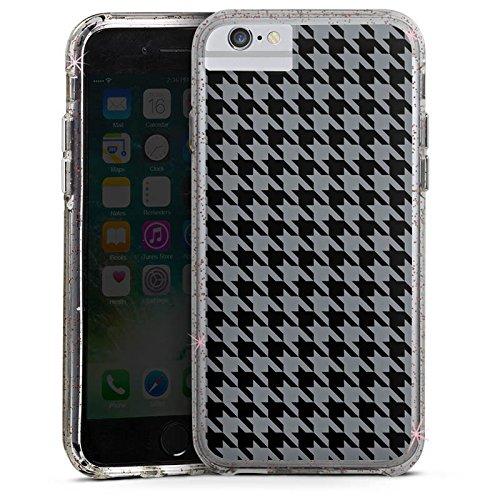 Apple iPhone 6s Bumper Hülle Bumper Case Glitzer Hülle Muster Pattern Schwarz Grau Bumper Case Glitzer rose gold