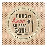 Holzbild Küche - No.KA27 Food Is Love - Wandbild Quadrat 1:1, Größe HxB:30cm x 30cm