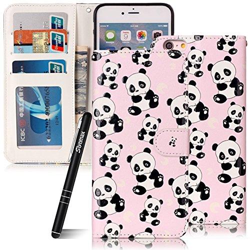 Custodia iPhone 6 Plus , Slynmax Custodia Portafoglio [Slot Per Schede] [Chiusura Magnetica] [Funzione Stand] [Cuoio PU] Custodie Protettive Ultra Sottili Custodie Protettive Magnetic Closure Carte di Panda