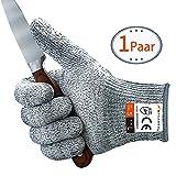 MYCARBON Schnittschutzhandschuhe Schnittfeste Küchehandschuhe Handschuhe Schnittschutzklasse 5 EN 388 CE für Küche Gartenbau Baustelle Schutzhandschuhe Einsatzhandschuhe L