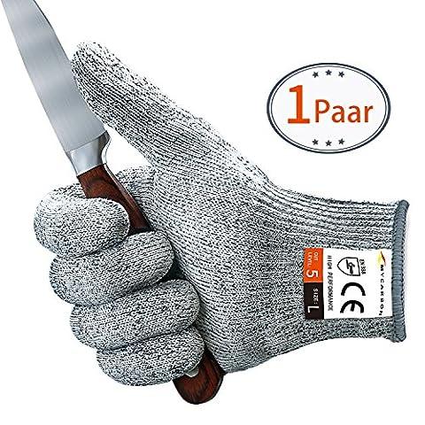 Paire de gants anti coupures MYCARBON Gants de Cuisine Maniques Résistant, Durable, Légère, Antidérapant, Anti-abraison et Homologué pour Aliment,Protection de niveau 5 conforme à la norme EN 388