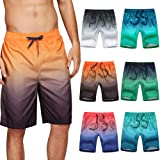 Civilever Men's Swim Trunks, Quick Dry Gradient Color Beach Shorts Watershorts, Holiday Casual Sports Wear with Pockets and A