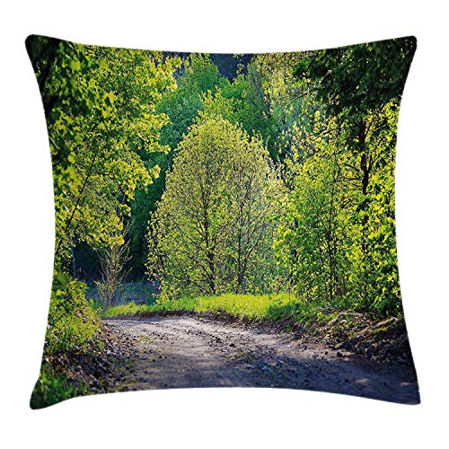Shower Curtain Spring Throw Pillow Cushion Cover, Path in Forest by The Lake Sun Light Reflecting on Fresh Leaves Tranquil Image, Decorative Square Accent Pillow Case, 18 X 18 Inches, Lime Green Grey - Country Path Light