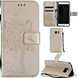 Ooboom® Samsung Galaxy S7 Edge Case Cat Tree Pattern PU Leather Flip Cover Wallet Stand with Card/Cash Slots Packet Wrist Strap Magnetic Clasp for Samsung Galaxy S7 Edge - Gold